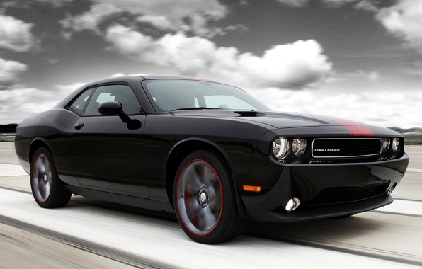 Picture the sky, clouds, black, tuning, muscle car, Dodge, dodge, challenger, tuning, the front, Muscle car, …