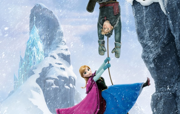 Picture snow, snowflakes, ice, deer, snowman, Frozen, Princess, Kingdom, Anna, Anna, Walt Disney, animation, Walt Disney, …