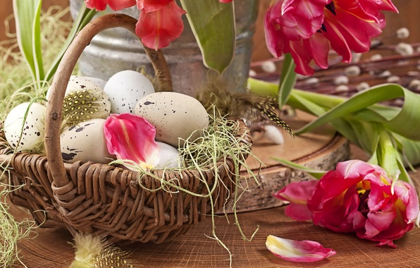Picture photo, Tulips, Easter, Eggs, Basket, Petals, Holiday