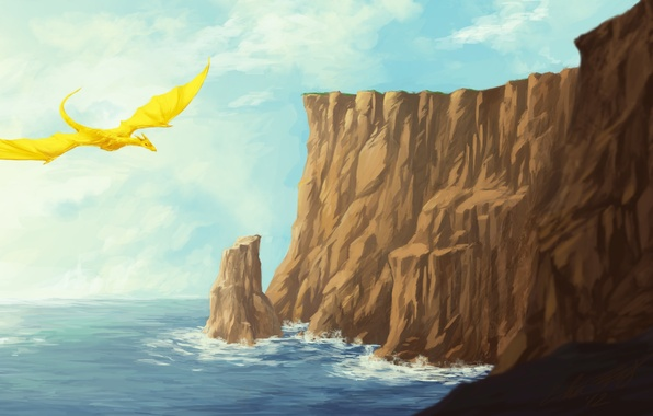 Picture sea, rocks, dragon, figure, fantasy, art