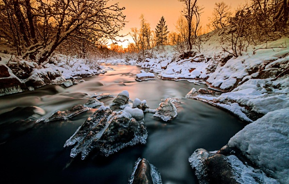 Picture ice, winter, forest, snow, trees, sunset, nature, river, Norway