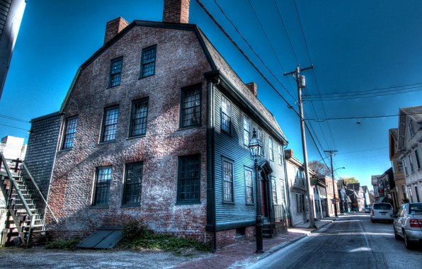 Picture street, posts, wire, home, treatment, USA, Newport, Newport
