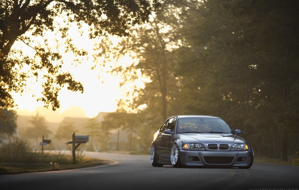 Picture bmw, road, stance, e46, tining