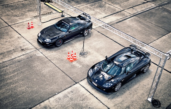 Picture machine, Koenigsegg, cars, plate, Toyota, Supra, supercars, CCXR, 2 pieces