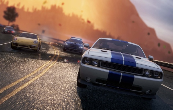 Photo Wallpaper Road Police Chase Porsche Dodge Challenger Need For Speed