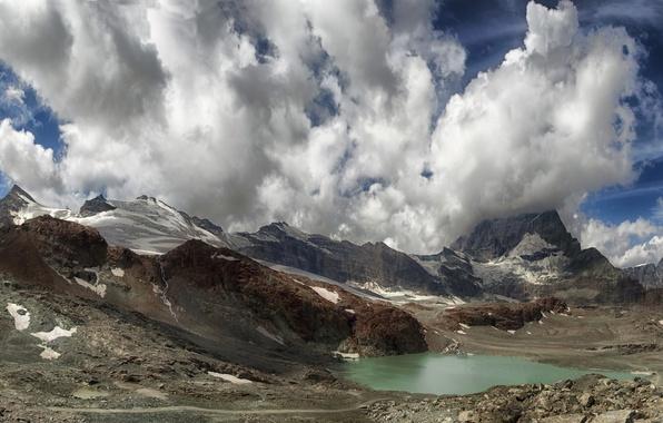 Picture the sky, clouds, mountains, lake, Switzerland, Zermatt