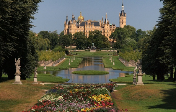 Picture trees, flowers, nature, Park, castle, Germany, garden, day, architecture, Schwerin