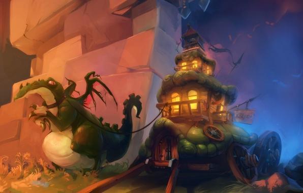 Picture dragon, train, fantasy, art, house, fantasy, cart, art, Wagon dragon, pack, Oritey