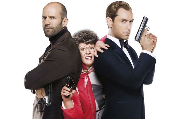 Picture Jude Law, poster, weapons, Spy, Melissa McCarthy, Comedy, Spy, white background, Jason Statham, Jason Statham, ...