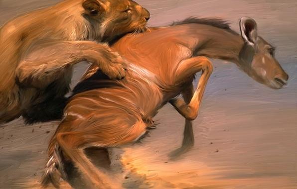 Picture Figure, Leo, Animals, Paint, Art, Mining, Painting, Painter, Fight