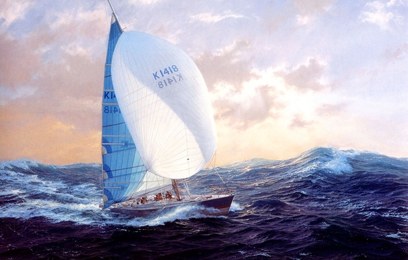 Picture wave, the sky, clouds, the wind, picture, yacht, stormy sea, J. Steven Dews