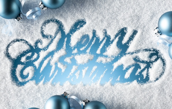Picture snow, holiday, the inscription, balls, Christmas, blue, congratulations, Merry Christmas