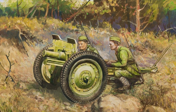 Picture battle, art, soldiers, gun, USSR, WWII, easy, Soviet, gun, caliber, WW2., leads, calculation, 76 mm, …