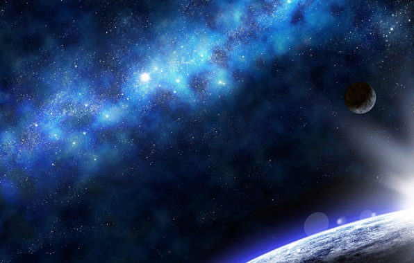 Picture lights, Star, blue, planet, cute, Sci Fi