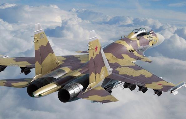 Picture the sky, clouds, the plane, fighter, sky, multipurpose, super-maneuverable, plane, su-35, su-35