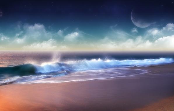 Picture clouds, wave, Shore