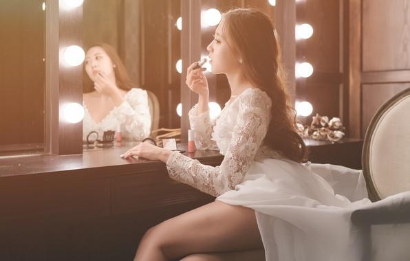 Picture girl, dress, mirror, lipstick, legs, Asian, cutie
