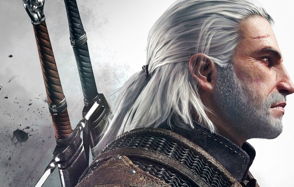 Picture Sword, Warrior, Beard, Armor, The Witcher, The Witcher, Geralt, Scar, CD Projekt RED, The Witcher …