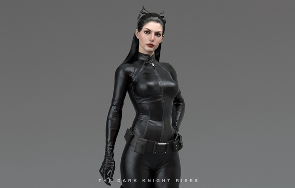 Picture girl, costume, ears, superhero, simple background, Catwoman