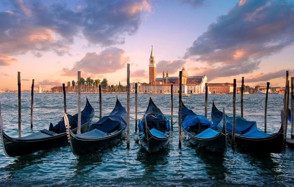 Picture sea, the sky, water, clouds, the city, island, morning, Italy, Venice, Italy, gondola, Venice, Venice, …