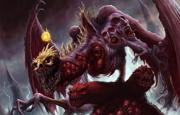 Picture dragon, wings, paws, face, mouth, claws, fangs, skull, corpses, fireball