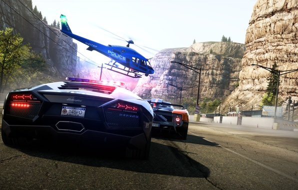 Picture mountains, machine, race, track, helicopter, Hot Pursuit, Need For Speed