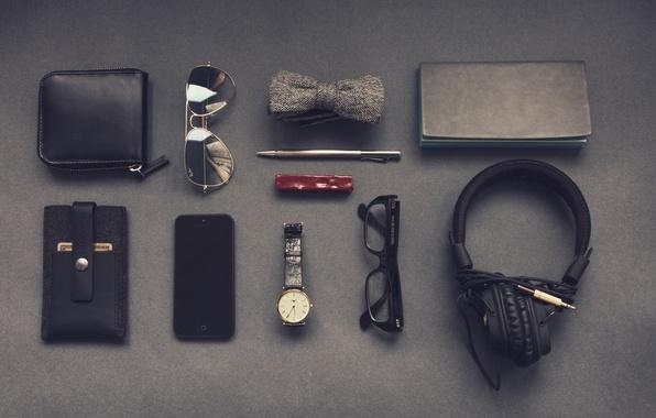 Picture butterfly, watch, headphones, glasses, handle, Notepad, male, smartphone, set, hipster, business card holder, gentleman, gentleman