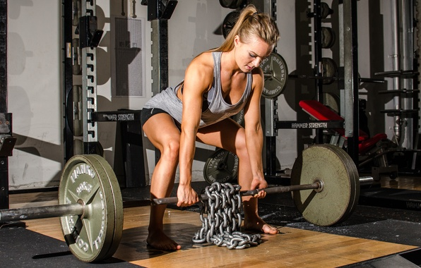 Picture legs, woman, workout, chains, dumbbell, crossfit, weight lifting
