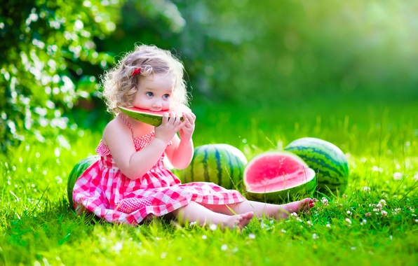 Picture summer, the sun, glade, child, watermelon, dress, girl, summer, happy, dress, beautiful, pretty, child, baby, …
