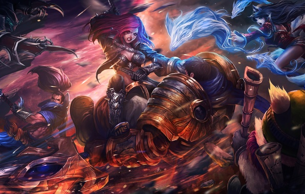 Photo wallpaper art, league of legends, katarina, fan, garen