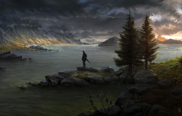 Picture trees, mountains, river, people, sword, warrior, art, shield, twilight, Skyrim, painted landscape