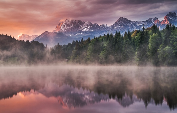 Picture water, trees, landscape, mountains, nature, fog, lake, reflection, sunrise, dawn, morning, ate, forest