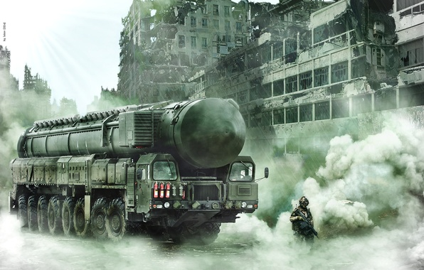 Picture future, fiction, war, soldiers, postapokalipsis, Topol m
