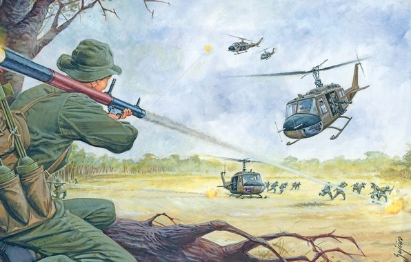 Picture figure, explosions, art, ambush, soldiers, clash, shots, helicopters, combat, grenade launchers