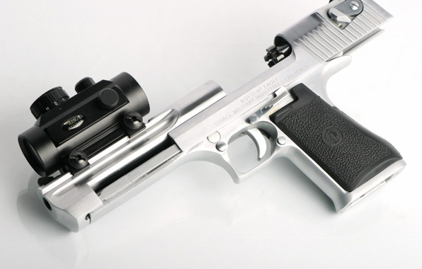 Picture weapons, optics, white background, trunk