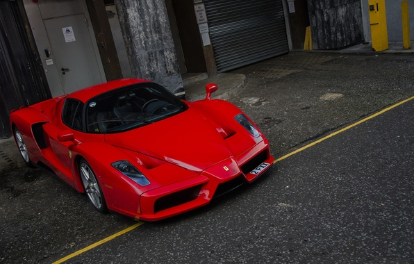 Picture red, wall, the door, red, ferrari, Ferrari, enzo, blinds, Enzo