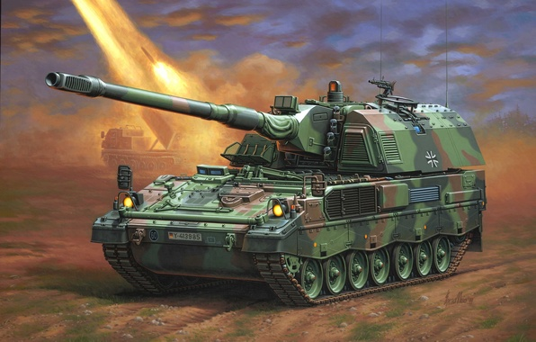 Picture figure, Germany, SAU, Enzo Maio, the Bundeswehr, self-propelled artillery, PzH 2000, Panzer howitzer 2000, armored …