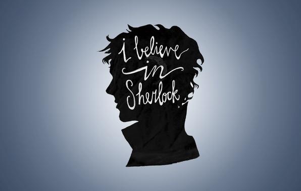 Picture figure, portrait, minimalism, silhouette, profile, Sherlock, bbc, sherlock, believe