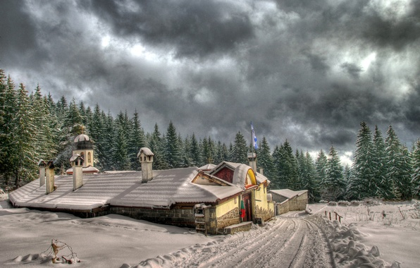 Picture winter, road, forest, snow, house, ate