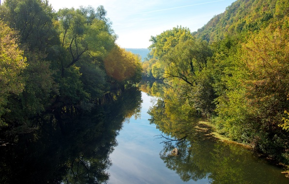 Picture summer, river, Northern Bulgaria, Yantra, a tributary of the Danube