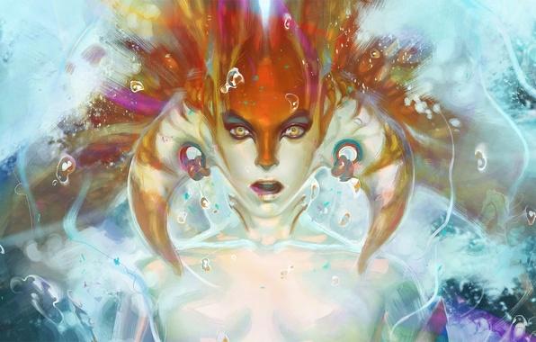 Picture water, girl, bubbles, face, art, horns, DOTA 2, Naga, Siren