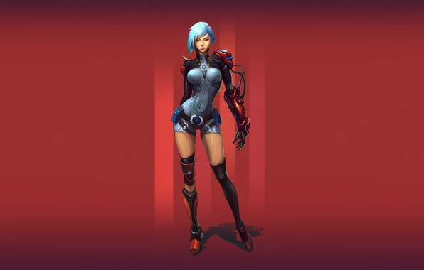 Picture red, background, robot, Girl, cyborg