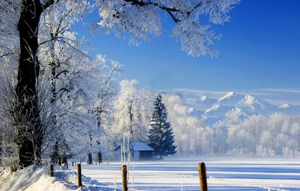 Picture winter, the sky, snow, landscape, nature, house, house, white, sky, landscape, nature, beautiful, winter, snow, …