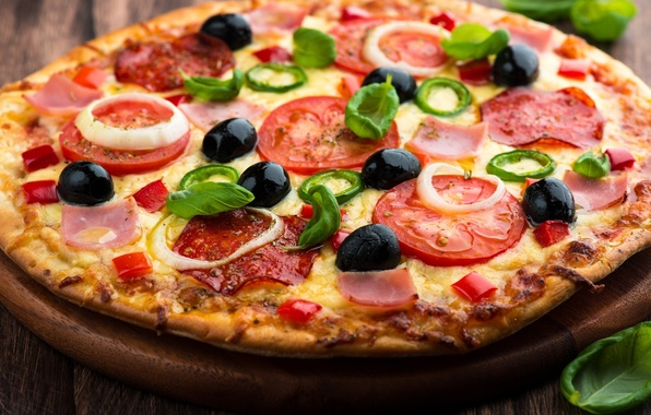Picture greens, table, food, cheese, Board, pizza, tomatoes, sausage, aroma, delicious, dish, olives, ham, appetizing, crust