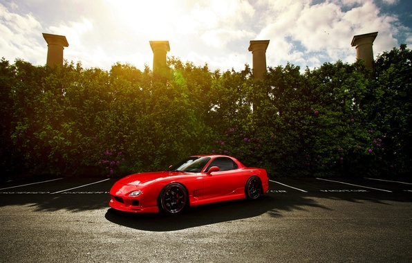 Picture the sun, columns, red, Mazda, Blik, red, front, Mazda, RX-7