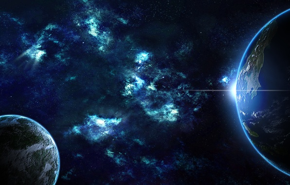 Picture sunrise, planet, stars, galaxy, Earth