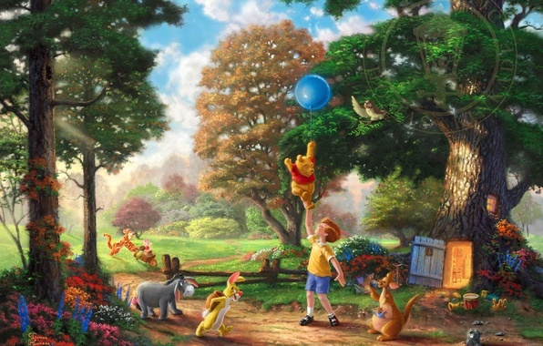 Picture forest, trees, flowers, glade, toys, ball, Rabbit, art, Winnie The Pooh, trees, wood, art, flowers, …