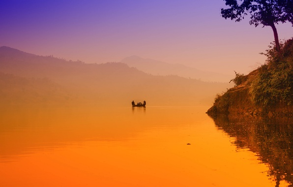 Picture fog, lake, dawn, boat, morning, Begnas