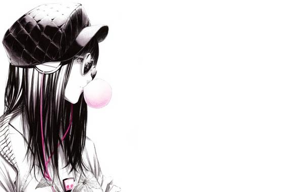 Picture Girl, headphones, art, glasses, player, cap, bubble, Sawasawa
