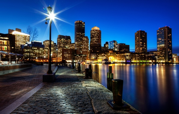 Picture night, the city, river, stones, building, home, skyscrapers, pavers, lighting, USA, USA, promenade, Boston, Boston, …